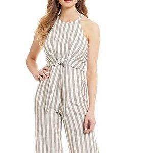 Sugarlips Striped Tie Front Wide Leg Jumpsuit